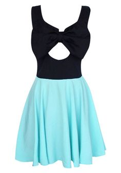 Want to look incredible at a house party? Get this color-contrast dress. It looks so cute and pretty with its bow trim and cutout at the fro...