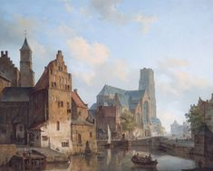 "dutch-and-flemish-painters: "" Cornelis Springer - A View of the Delftse Vaart and Saint Laurens Church, Rotterdam - 1840 oil on canvas, 75 x 91 cm "" European Paintings, Old Paintings, Beautiful Paintings, Classic Paintings, Rotterdam, Carl Spitzweg, Watercolor Architecture, Medieval Life, Best Water Bottle"