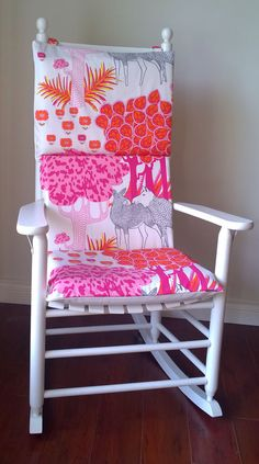 Rocking Chair Cushion Cover   Pink Forest, Yellow Polka Dot