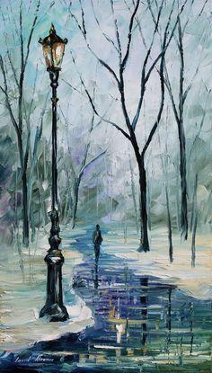 Winter Light - Leonid Afremov by *Leonidafremov on deviantART #OilPaintingWinter #OilPaintingArt