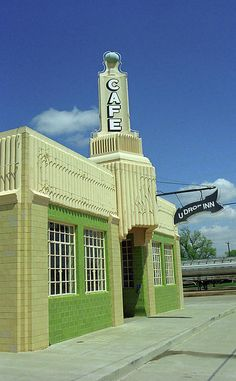 Route 66 - Conoco Tower Station. Art Deco Conoco Station in Shamrock, Texas, on Rt. 66. Found on an empty Main Street, also contains the U Drop Inn Restaurant.