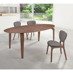 The oblong Zuo Modern Virginia Key Dining Table - Walnut makes any setting more memorable. This stretched oval surface is crafted from durable MDF with. Walnut Dining Table, Modern Dining Table, Dining Room Table, Dining Chairs, Dining Set, Dining Furniture, Home Furniture, Modern Furniture, Apartment Furniture