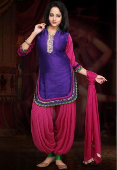 Purple and Pink Art Dupion Silk Patiala with Short Kurta