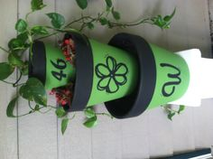 Clay flower pots painted