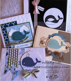 Stampin' Up! Demonstrator Wendy Lee-Oh Whale card class. The more I use this set the more I love it!  For more pics of the projects go to my website  http://www.stampinup.net/esuite/home/wendylee13/project/showAlbum.soa?albumId=53696