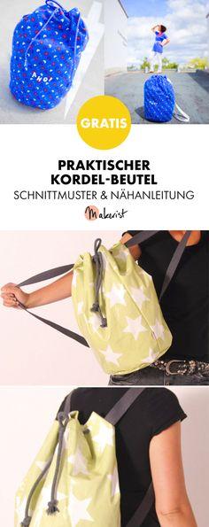Gratis Anleitung: Beutel nähen mit Kordel - Schnittmuster und Nähanleitung via Makerist.de