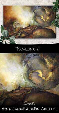 """Novilunium, Acrylic and mixed media on canvas, original art by Laura Swink. Name is latin for """"New Moon"""" A Utopia, Original Artwork, Original Paintings, New Moon, Mixed Media Canvas, Basement, Abstract Art, Wax, Cold"""