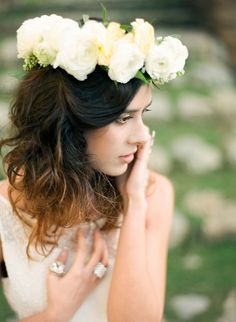 Lush white floral crown | Photography: Cinzia Bruschini - cinziabruschini.it  Read More: http://www.stylemepretty.com/little-black-book-blog/2014/05/27/bohemian-wedding-inspiration-in-tuscany/