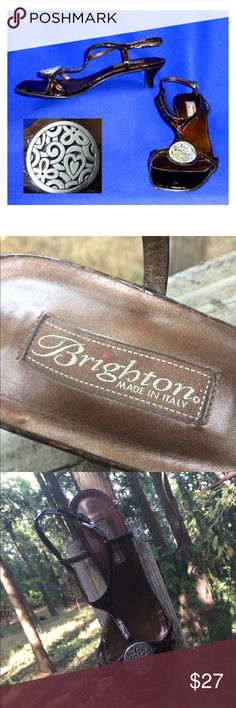 """Brighton """"Kiana"""" kitten heeled sandals Brown crocs sandals, kitten heel with Brighten emblem in silver. Super sexy style, low enough heel for comfort ,great look,great style... like new, a Kristen Find , posh on girlfriend. Details; Heel-2 inches Size 9 Brighton Shoes Sandals"""