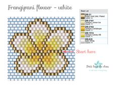 Discover my free Miyuki beading patterns to create beautiful frangipani flowers using the brick stitch technique. Beaded Necklace Patterns, Seed Bead Patterns, Beading Patterns, Mosaic Patterns, Painting Patterns, Seed Bead Bracelets, Seed Bead Jewelry, Seed Beads, Diy Accessories