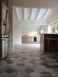 Mixed Gray Hex Cement Tile kitchen floor, from Villa Lagoon Tile.