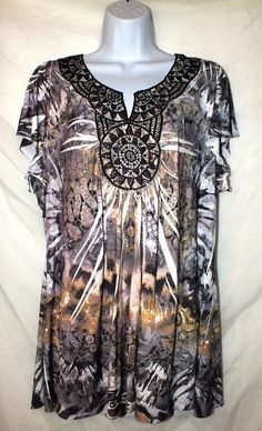 Apt 9 Casual Multi Color Sublimation Embellished Women's Top Blouse Size 2x #Apt9 #Blouse #Casual