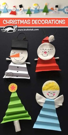 Christmas+Decorations - Christmas Activities For Kids - Potted Christmas Trees, Paper Christmas Ornaments, Christmas Craft Projects, Preschool Christmas, Ornament Crafts, Christmas Activities, Christmas Decorations To Make, Kids Christmas, Holiday Crafts