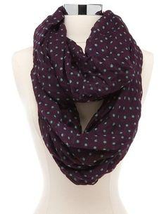 Mint dot plum infinity scarf