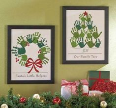Cute wreath and Christmas tree handprint framed pictures