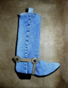 Cute boot stocking - made from old jeans