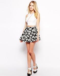 Fashion Union Scuba Skirt In Daisy Print - Black/white