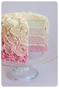 Sugar: Beautiful Pink Ombre Cake - no recipe but similar recipe here http://www.theidearoom.net/2012/07/ombre-cake.html (Ombre Wedding Cake) Cake Pink, Pink Ombre Cake, Pink Rosette Cake, Floral Cake, Mothers Day Cake, Birthday Cake For Mother, Birthday Cake With Roses, Mothers Day Desserts, 25th Birthday Cakes