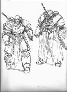 """ thumbnail sketches I did for the Inquisitor Thrax character from the Space Marine game "" - Karl Kopinski ( https://www.facebook.com/pages/Art-of-Karl-Kopinski/382449358500042 )"