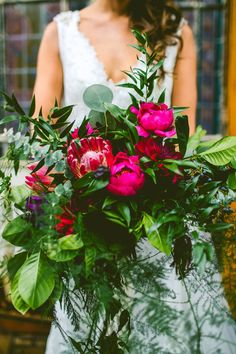 Vibrant pink and green bridal bouquet | Image by Carolyn Scott Photography