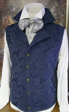 Philip would look dashing in this blue ascot waistcoat. Victorian Men, Victorian Fashion, Vintage Fashion, Victorian Dresses, Regency Dress, Regency Era, Historical Costume, Historical Clothing, The Frankenstein