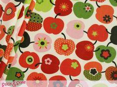 Stoff Retro Äpfel in rot
