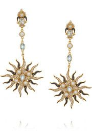 Percossi Papi Sun gold-plated, topaz and pearl earrings