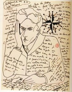 "24hoursinthelifeofawoman: "" Self-Portrait by Jean Cocteau in a letter to Paul Valery """