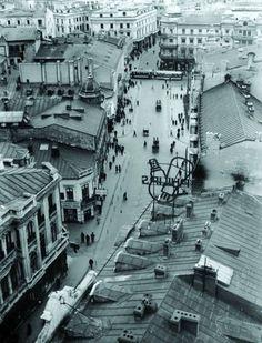 Calea Victoriei, vedere de sus spre intersecția cu bulevardul Elisabeta, Bucuresti Interbelic