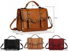 Ladies Womens Designer Faux Leather Vintage Studded Satchel Tote Hand Office Bag