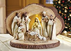 Lighted Woodland Nativity Scene Sculpture, Collections, Etc. Christmas Nativity Scene, Merry Christmas To All, Christmas Holidays, Christmas Crafts, Christmas Decorations, Holiday Decor, Nativity Scenes, Collections Etc, O Holy Night