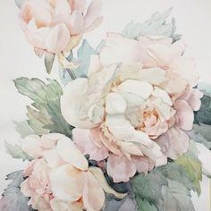 Silk Painting, Peony Painting, China Painting, Painting & Drawing, Watercolor Paintings, Peony Drawing, Watercolor Flowers, Watercolor And Ink, Watercolor Tattoo