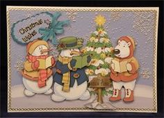 Christmas Sing Song (8 x 6 decoupaged tent card)