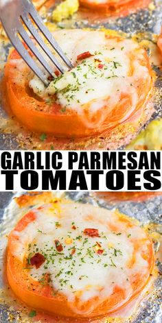 OVEN ROASTED TOMATOES RECIPE- Quick, easy, requiring simple ingredients, 1 pan and 20 minutes. Use these garlic parmesan baked tomatoes in pasta, soup, sauce, salsa, salad. Also great as dinner, appetizer or side dish. From OnePotRecipes.com #tomatoes #italianfood #howto #parmesan #cheese #garlic #appetizer #sides #sidedish #dinner #dinnerrecipes #lowcarb #healthy #30minutemeal #onepot #onepan #sheetpan #quickandeasy