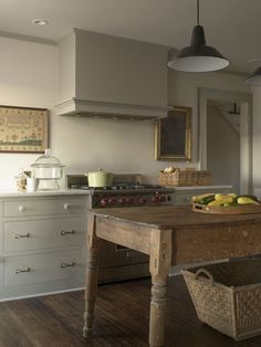 farmhouse kitchen, traditional cabinetry, farm table, PW Vintage Lighting