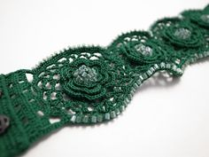 Irish Crochet Lace Jewelry (Irish Love I-b) Fiber Jewelry Bracelet