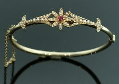 Antique Victorian Ruby and Seed Pearl Bangle by SITFineJewelry, $2275.00