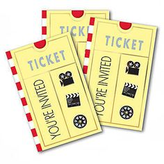 Our Lights Camera Action Invitations have the look of a movie ticket and feature the phrase You're Invited. Guaranteed Lowest Prices!