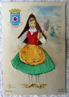 Embroidered Clothing Postcard Artist Elsi Gumier Covilha Lady N8M | eBay