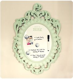 Turn and old frame into a decorative dry erase board
