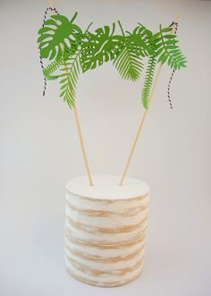 tropical leaf cake topper by primnpaper on Etsy