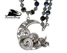 Necklace Eclipse silver plated snake serpent moon