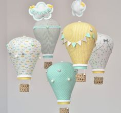 Pastel Hot Air Balloon Mobile Mint Yellow, Gray