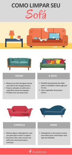 Learn how to clean sofa on a daily basis and also how to remove stains. Our tips are infallible, certainly will be useful to you. Check out! Diy Cleaning Products, Cleaning Solutions, Cleaning Hacks, Clean Couch, Weekly Cleaning, Personal Organizer, Home Hacks, Home Organization, Home And Living