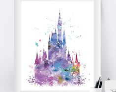 Cinderella Prinzessin Schloss Disney Aquarell drucken von CocoMilla