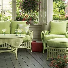 Beach House Decor: Beach Cottage Furniture- Love the colors! Porch Furniture, Cottage Furniture, Outdoor Furniture Sets, Cane Furniture, Bamboo Furniture, Rustic Furniture, Antique Furniture, Furniture Ideas, Modern Furniture