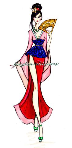 Hayden Williams Fashion Illustrations: The Disney Diva's collection by Hayden Williams: Mulan