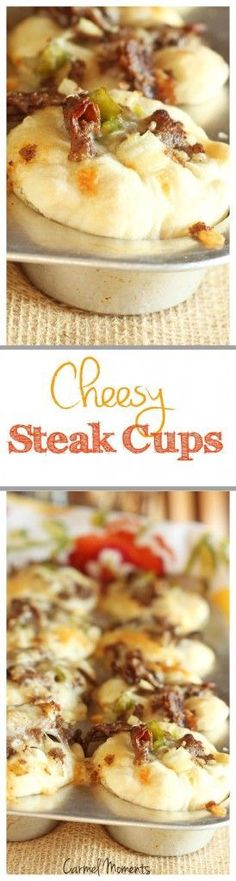 Cheesy Philly Style Steak Cups  - Fresh dough topped with steak, peppers, onions and cheese in a muffin cup. Easy portion sizes. Perfect for on the go!