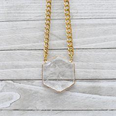 Hippolyta Gold Plated Smoky Quartz Diamond Stone Brass Fishbone Necklace EPJ-D19EAA10