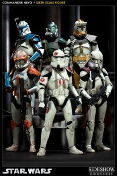 Clone Commanders. From top left to bottom right : Clone Captain Rex (501st legion), Clone commander Gree (41st Elite corps), Clone Commander Bly (327th Star Corps), Clone Commander Cody (212th Attck Battalion), Clone commander Neyo (91st Recon corps), and Clone commander Bacara (Galactic Marines)